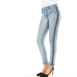 Jean skinny galon à strass fantaisie