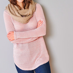 Sweat maille velours effet rayé