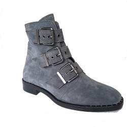 Boots cuir velours