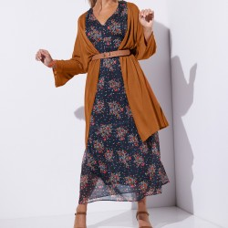 Long gilet léger aux manches kimono