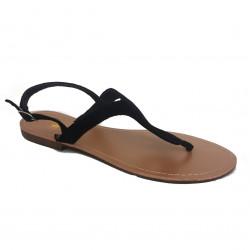 Sandales à entredoigt - nubuck noir