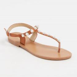 Sandales à entredoigt camel