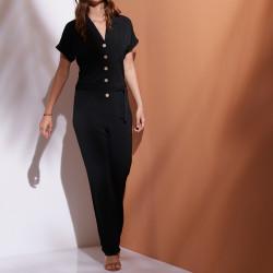 Combi-pantalon boutonné maille unie