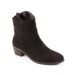 Boots western noires à talon