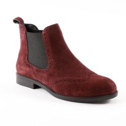 Boots perforées en croûte de cuir - bordeaux
